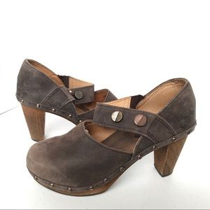 SANITA Wooden Mary Jane Heeled Clogs 37